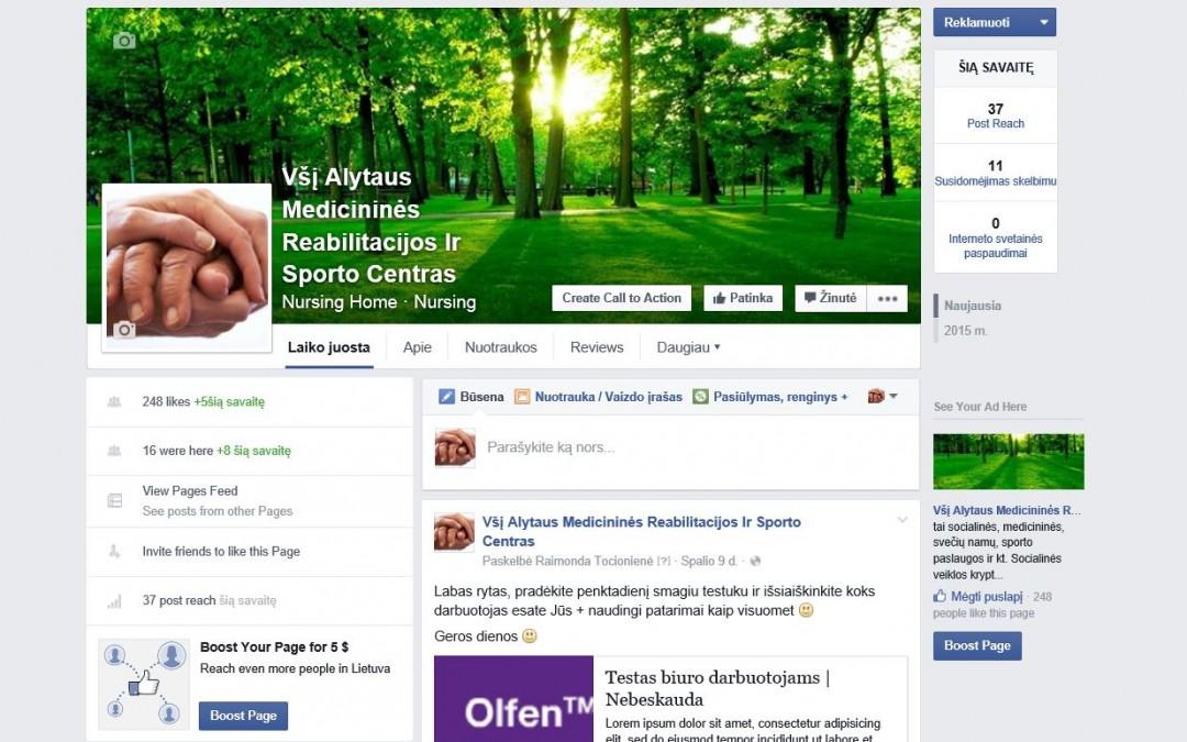 VšĮ Alytaus medicininės reabilitacijos ir sporto centras mes jau Facebook'e