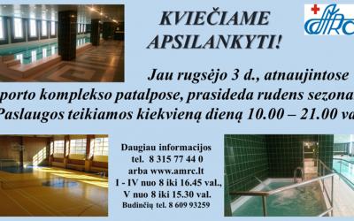 VšĮ Alytaus medicininės reabilitacijos ir sporto centre – jau rugsėjo 3 d. prasideda naujas sporto komplekso sezonas!